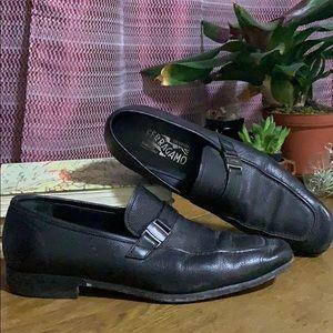 Black Salvatore Ferragamo Italian Leather Loafers